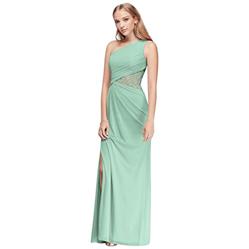 One-Shoulder Mesh Bridesmaid Dress with Lace Inset Style F19419, Mint, 6