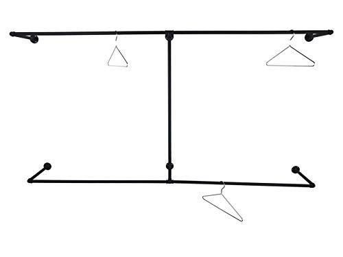 Kleiderschrank, Breite 210cm, schwarz Metall, 110cm Höhe, stabile Garderobe, Kleiderstange Industrial Design, Wandgarderobe