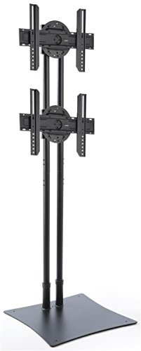 Displays2go DSTAND2BK Heavy Duty TV Stand for Dual HDTV Mounts, 32-70 Inch, Stationary