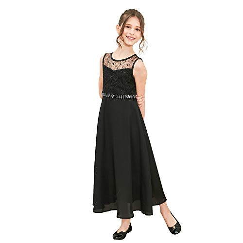 LB16 Girls Dress Rhinestone Chiffon Bridesmaid Dance Ball Maxi Gown Size 14 Black