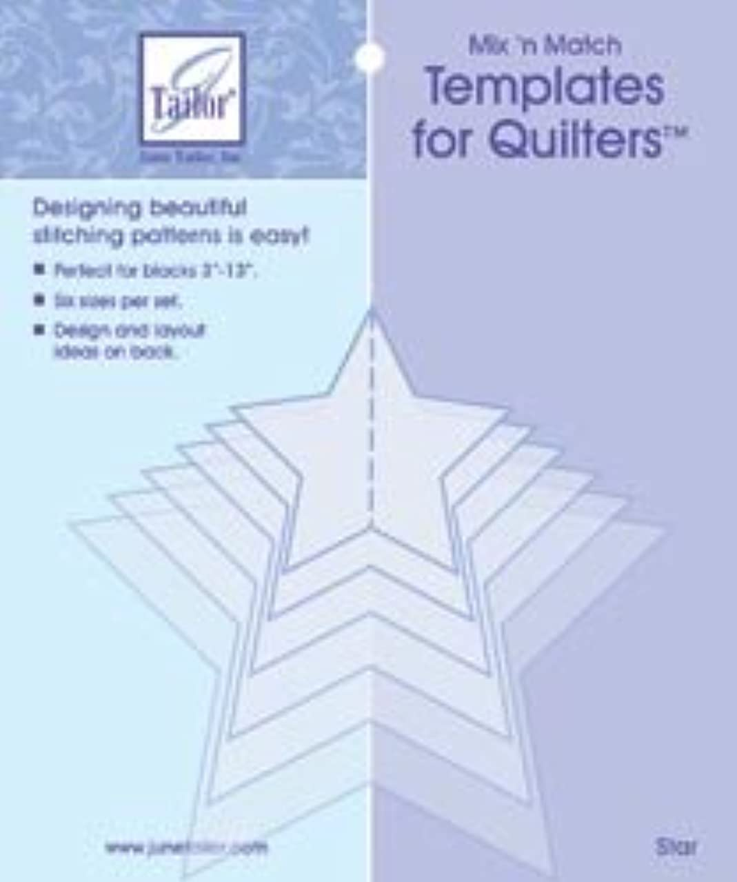 June Tailor 82931 Mixn Match Templates For Quilters 6-Pkg-Star