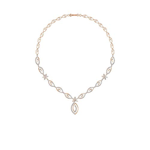 Einzigartige 3,55 Karat zertifizierte Moissanit Blume Blütenblatt Halskette, massives 14 Karat Gold Gravur Statement Hochzeit Halskette, Vintage Brautjungfer Edelstein Anhänger 14K Roségold