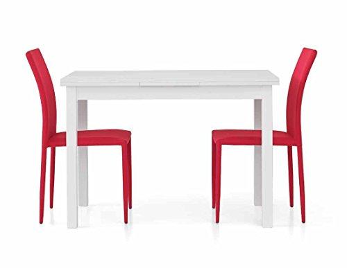 Legno&Design Table moderne rectangulaire blanche frêne avec 2 rallonges de 40 cm