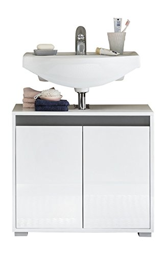 trendteam smart living Badezimmer Waschbecken Unterschrank Schrank Sol, 67 x 60 x 36 cm in Korpus Weiß, Front Weiß Hochglanz mit viel Stauraum