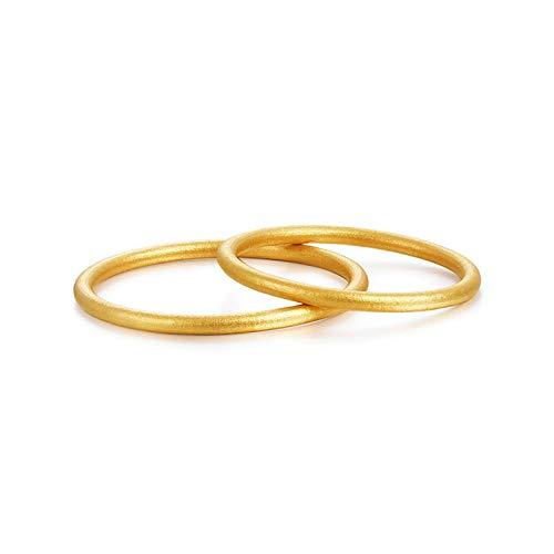 Beydodo Anillos de Parejas Oro Amarillo 18 Kilates Redondo Simple Mate Anillo Oro Talla Mujer 25 & Hombre 26