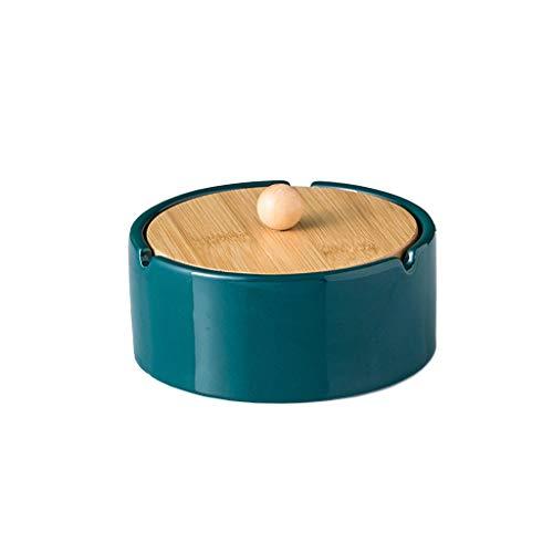 Cenicero Cenicero de cerámica con tapa Mesa de café al aire libre Oficina Sala de estar Oficina Mesa de comedor Decoración de la mesa de bambú Lid de madera Cenicero 4.92 pulgadas Cenicero sin humo