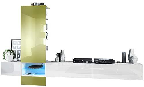 Vladon Combinaison Murale Manhattan V3, Corps en Blanc Mat/Façades en Blanc Haute Brillance, Panneau en Vert Clair Haute Brillance, avec l'éclairage LED