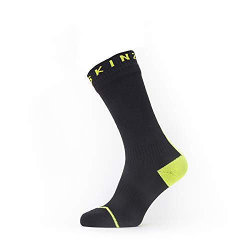 Seal Skinz Waterproof All Weather Mid Length Chaussettes Homme, Noir/Jaune Fluo, XL