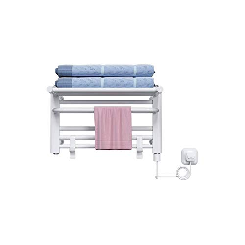 YYHAD Toallero eléctrico Radiador de riel de Toallas con calefacción para el baño montado en la Pared Panel Plano Ladder Antracita con Gancho extraíble, 200W, 50 × 30 × 21.5cm, Blanco (Color : White)