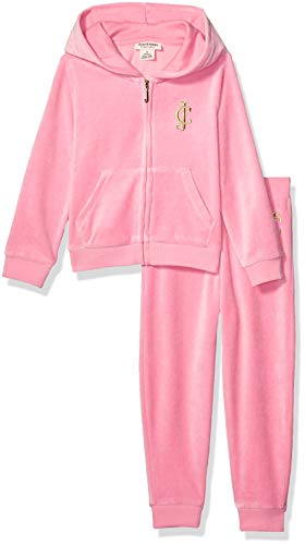 Juicy Couture Girls' Toddler 2 Pieces Hooded Velour Jog Set, Pink, 3T