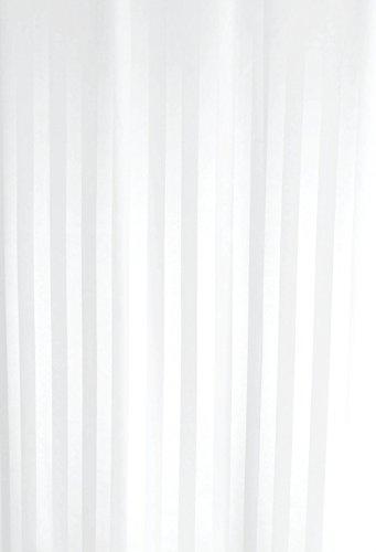 Luxxur PLUS Duschvorhang, weißer Streifsatin, Polyester, mit schwerem 50g Saum und rostfreien Ösen, 220 x 220 cm