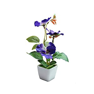 Artificial Bonsai Fake Plants Flower Wedding Home Decor Garden Hotel Potted Bonsai Plant Tree Blue Pansy