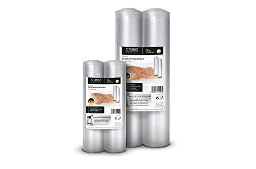 CASO 3 Sterne Strukturfolien Set, Folienrollen: 2x 20x600cm, 2x 30x600 cm 105µm, für Vakuumierer / Folienschweißgeräte, BPA-frei, sehr stark, reißfest, kochfest, 1281
