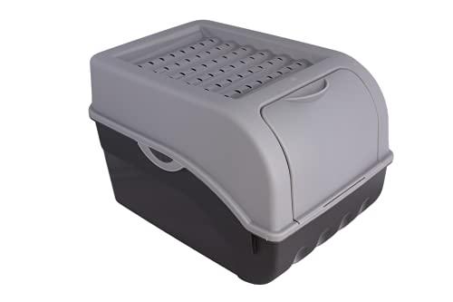 ARTECSIS Caja de almacenamiento de patatas gris, caja de verduras, caja de patatas con tapa, para aprox. 4 kg de patatas + 6 pegatinas con variedades de verduras