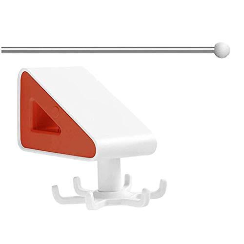 Gancho giratorio sin costuras con tubo de acero 360 ° 6 garra, gancho de almacenamiento, sin taladrar Colgador de pared multiusos Gancho de pared autoadhesivo para el baño de la cocina del hogar
