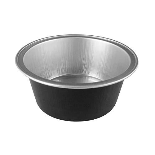 KitchenDance Disposable Aluminum Mini Baking Cups/Dessert Cups- 1-1/2 oz Capacity- Pack of 100 (Without Lids, Black)