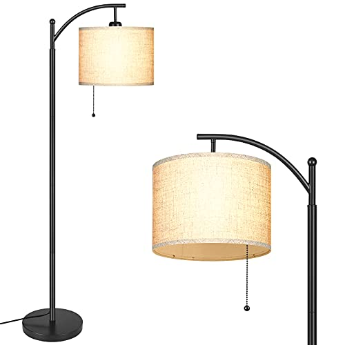 MOFFE Modern Arc Floor Lamp for Living Room, Bedroom, Office; Bright Lighting to Soft White Light - Includes 3-Mode Energy Saving LED Bulb 3000K - 6000K; Designer Shade and Pull Chain Switch, Black