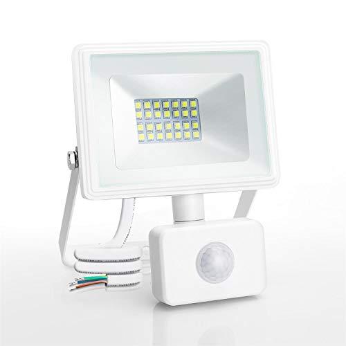 Aigostar 20W Foco LED con Sensor Movimiento PIR,1800LM Super Brillo Focos LED Exterior, IP65 Impermeable,Blanco Frío 6400K Luz de Seguridad para Jardín, Patio,Garaje, etc.