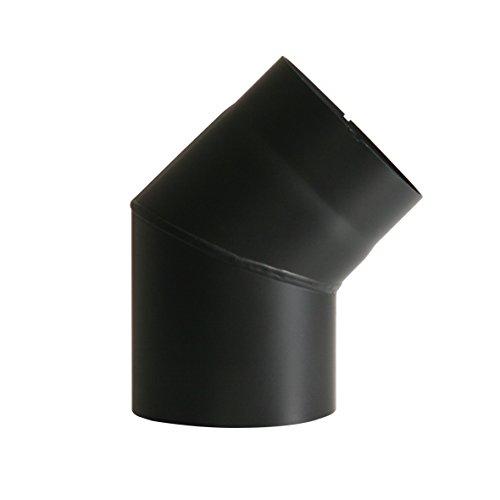 Kamino Flam 331835 Bogenknie, Winkel von 45 Grad, Abgasrohr aus Stahl mit hitzebeständiger Senotherm Beschichtung, geprüft nach Norm EN 1856-2, Schwarz, Durchmesser: circa 150 mm