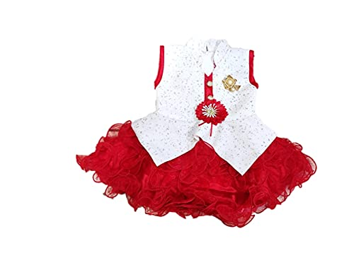 Kids Fashion Baby Girl Middi Dress Frocks Soft net for 0-12month (Red, 9-12 Months)
