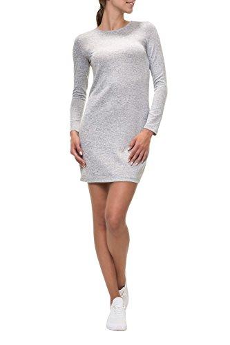 VERO MODA Damen VMMALENA LS Dress EXP NOOS Kleid, Grau (Light Grey Melange Light Grey Melange), 40 (Herstellergröße: L)