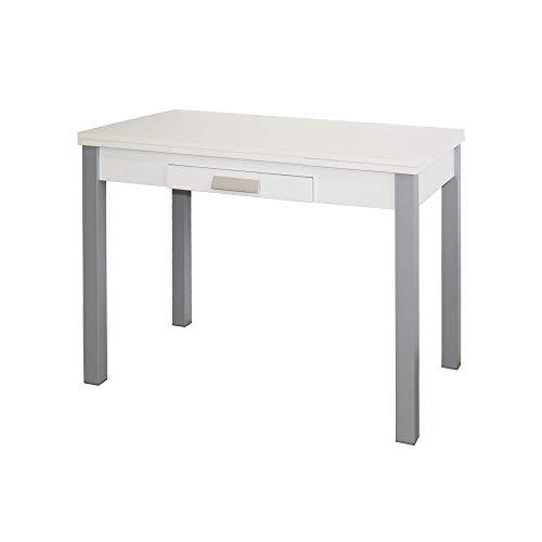 Mesa de Cocina Extensible - Modelo SILANTA - Color Blanco/Plata - Material MDF/Metal - Medidas 100/160 x 60 x 76 cm
