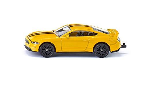 siku 1530, Ford Mustang GT Sportwagen, Metall/Kunststoff, Gelb, Öffenbare Motorhaube, Anhängerkupplung, Spielzeugauto für Kinder