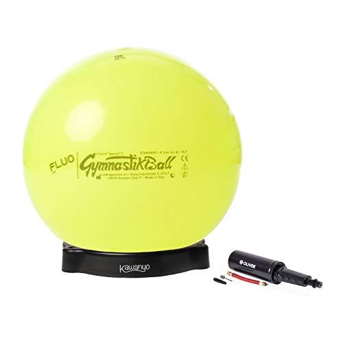 PEZZI Original Gymnastikball Standard Fluo Ø 42 cm bis 75 cm inkl. Ballschale und Ballpumpe bis 400 kg belastbar Training Fitness Reha Therapie Büro Bürostuhl (Gelb, Ø 65 cm - bis 175 cm Körpergröße)