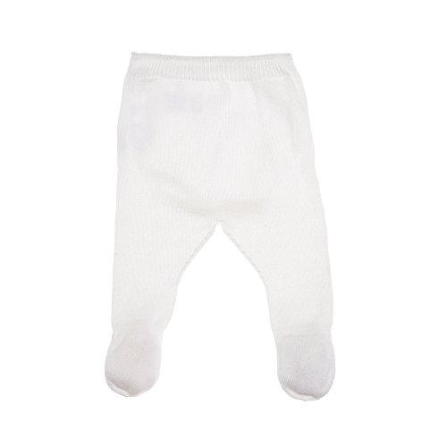 MLT Pantalon de Naissance bébé Blanc, en Coton Issu de l'agriculture Biologique, tricoté en France