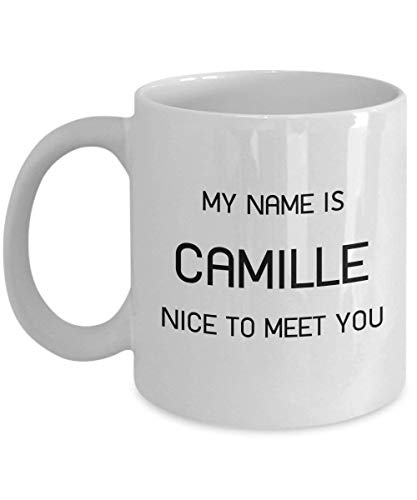 LINNJ Boccale Birra My Name is Camille Nice to Meet You - 11 oz Coffee Mug - Personalised Ceramic Coffee Cup Gift