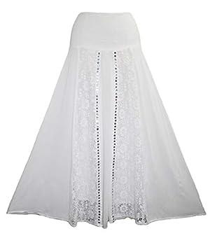 Agan Traders 3706 SK Rayon Crape Bohemian Skirt  White  S/M