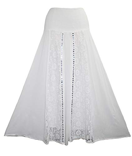 Agan Traders 3706 SK Rayon Crape Bohemian Medieval Peasant Gypsy Long Skirt (White; S/M)