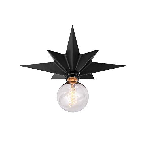 Flush Mount taklampa vintage svart metall stjärnform lampskärm hänge industriell belysning armatur metall E27 retro art deco vägglampa Edison stil loft hängande lampa för vardagsrum sovrum vardagsrum