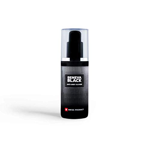 Beneva Black Anti Grey Elixir   50% weniger graue Haare in 4 Monaten   In mehreren Studien bestätigt   Wirkstoff ist Darkenyl   Swiss Made & Swiss Formula, über 40'000 Kunden