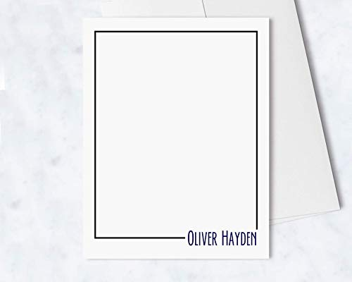 Personalized Notecards Personalized Note Cards for Men Custom Stationery Personalized Stationery for Men DOUBLE BORDER NAME