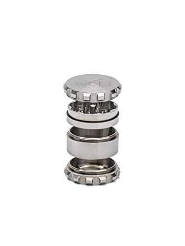 Stainless Steel Herb Grinder Heavy Duty 25 64mm Large 4 Piece Spice and Herb Crusher - Pyramid Shaped Teeth Neodymium Magnetic Lid Includes Scraper