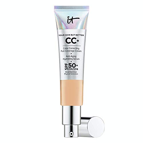 IT Cosmetics Your Skin But Better CC+ Cream, Medium Tan (W) - Color Correcting Cream, Full-Coverage Foundation, Hydrating Serum & SPF 50+ Sunscreen - Natural Finish - 1.08 fl oz
