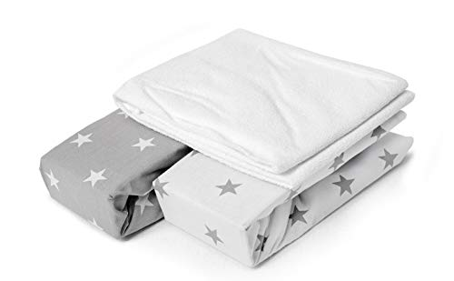 Peek-A-Boo Next2Me and Lullago Crib Fitted Sheets x2 + Waterproof Mattress Protector x1, 100% Oeko-Tex Cotton. Set of 3, White and Grey Stars, Size 83 x 50 x 5 cm. Made in Europe. GO ECO
