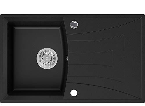 Granitspüle Schwarz 77 x 47 cm, Spülbecken + Siphon Automatisch, Küchenspüle ab 45er Unterschrank in 5 Farben mit Siphon und Antibakterielle Varianten, Einbauspüle von Primagran