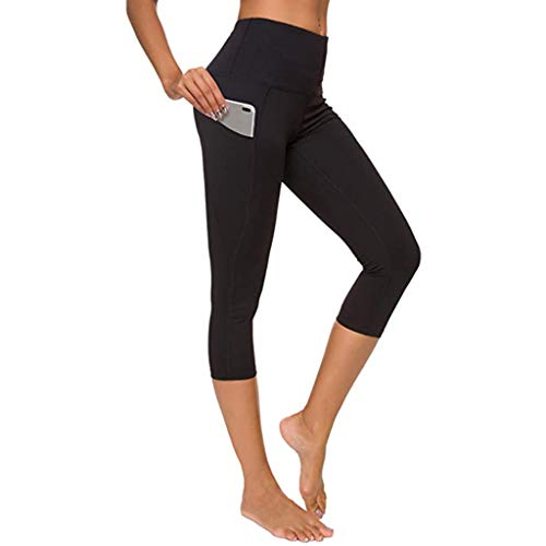Shinehua Capri 3/4 sportbroek voor dames, yoga, fitness, leggings, hoge taille, joggingbroek, trainingsbroek met tas, korte loopbroek