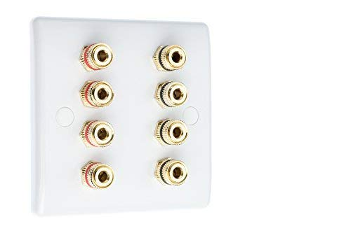 4.0 Slimline 1 Gang Surround Sound Speaker Wall Plate with Gold Binding Posts NO SOLDERING REQUIRED