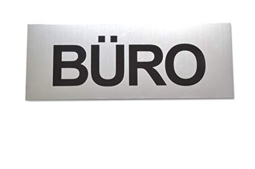 BÜRO Schild aus eloxiertem Aluminium - Große 16 x 6 cm - Mit starker Klebefläche der Qualitätsmarke 3M - Selbstklebend - Robuste 2 mm Dicke - Büroschild - Türschild - Büro - Klebeschild