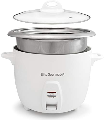 Elite Gourmet ERC2010B Electric Rice Cooker with Stainless Steel Inner Pot Makes Soups, Stews,...