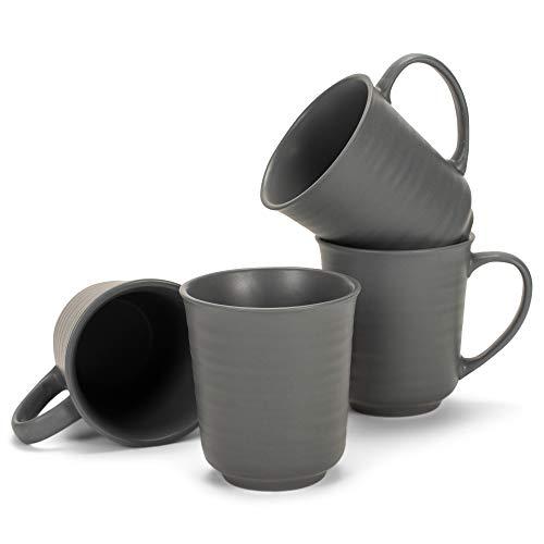 Juego de 4 tazas de café de gres con acabado mate negro de 17 onzas