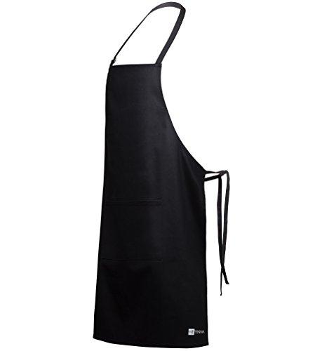HEYNNA® Premium Kochschürze/Küchenschürze 100% Baumwolle belastbar & einfach zu reinigen - perfekt auch als Grillschürze und Backschürze (schwarz)