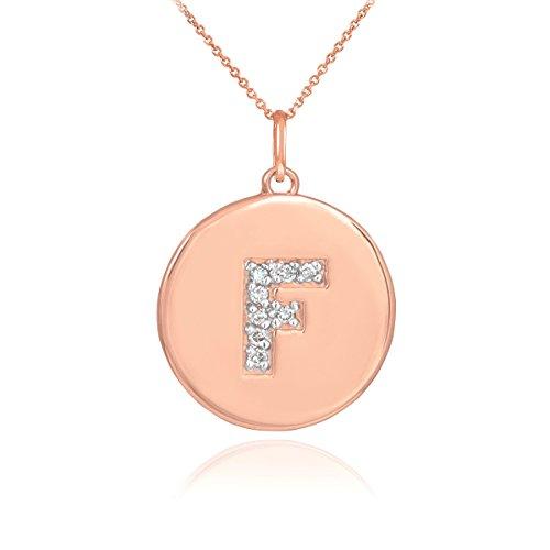 Little Treasures - 14 ct Rose Gold Letter 'F' Initial Diamond Disc Pendant Necklace