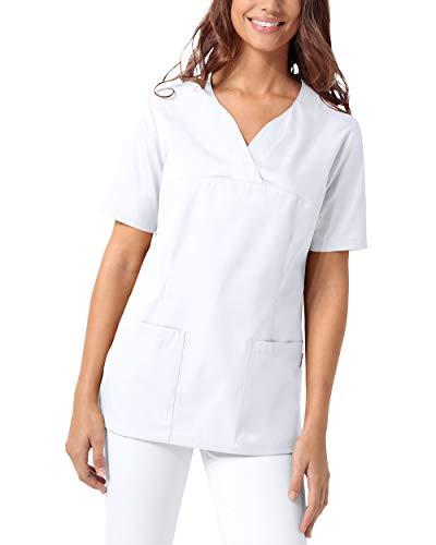 CLINIC DRESS Schlupfkasack Damen Kasack für die Pflege 1/2 Arm Regular Fit 50% Baumwolle 95 Grad Wäsche weiß L
