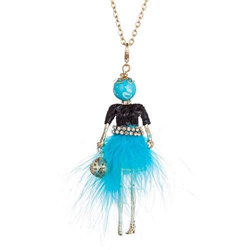 XCWXM - Collar largo de mujer para muñecas, vestido de plumas suave, colgante de cadena larga, collares de pedrería, joyas para mujer con bolsa de bola