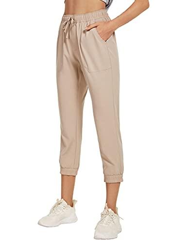 BALEAF Women's Skinny Capris for Summer Quick Dry Elastic Waist Capri Jogger for Running Hiking Khaki Size XL