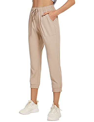 BALEAF Women's Hiking Pants Quick Dry Lightweight Capri Jogger Elastic Waist Casual Summer with Pockets Khaki Size L